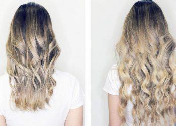 Alongamento de cabelo antes e depois