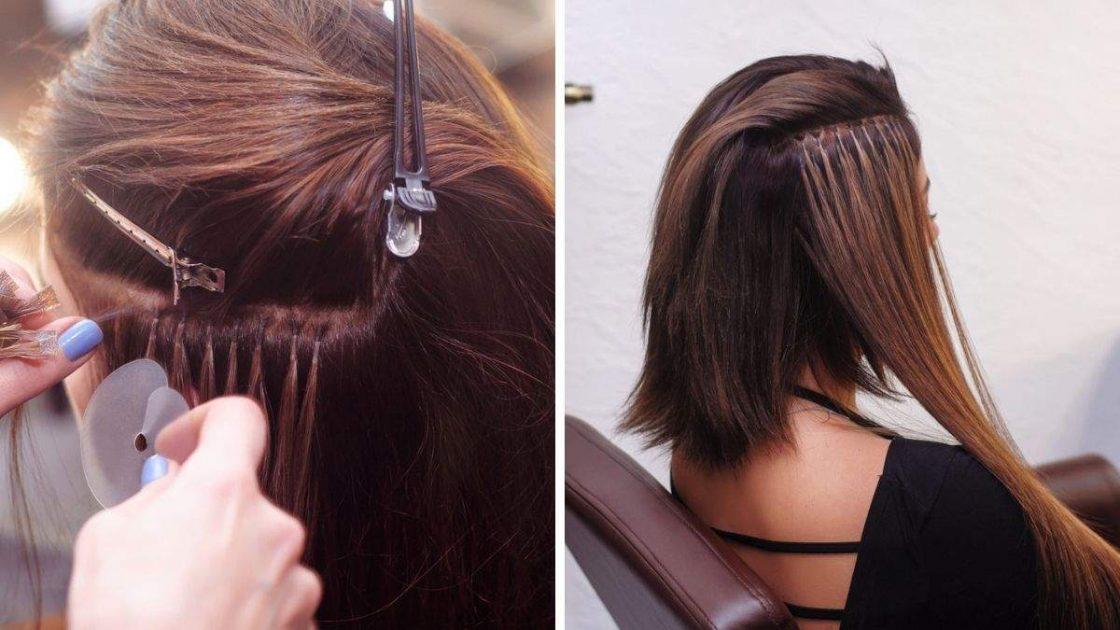 Alongamento de cabelo com cola de queratina