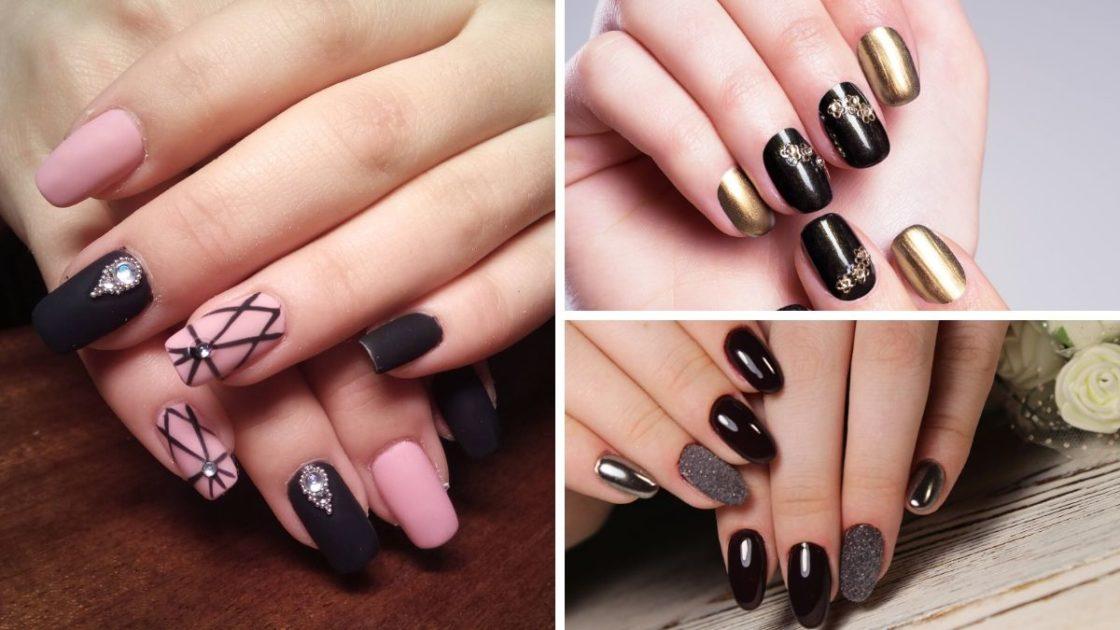 Nail art em unhas pretas é uma das tendências de unhas decoradas 2020 - [Fotos 1: shutterstock] [Fotos 2 e 3: Canva]