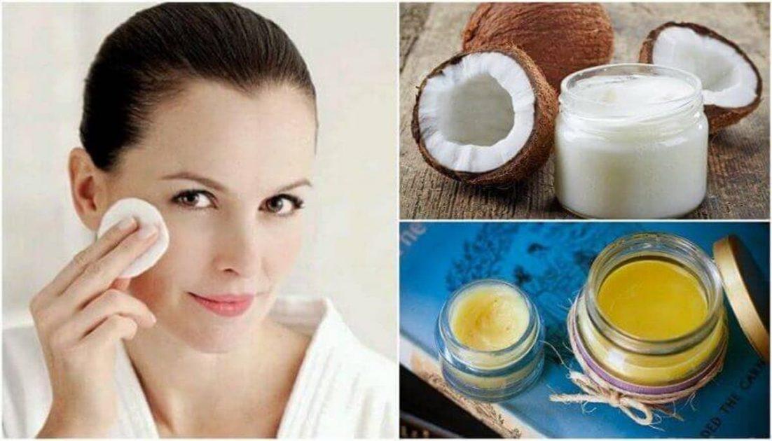Removedor de maquiagem de óleo de coco, azeite e glicerina